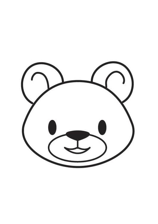 Dibujo para colorear cabeza de oso - Img 17701