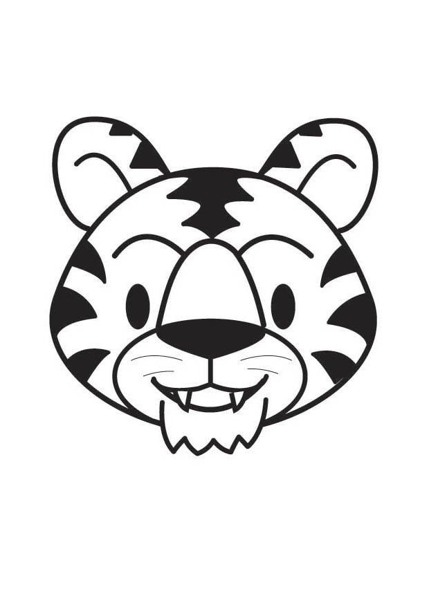 Dibujo Para Colorear Cabeza De Tigre