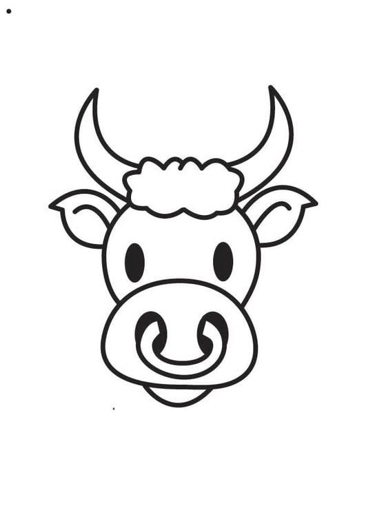 Dibujo para colorear cabeza de toro - Img 17864