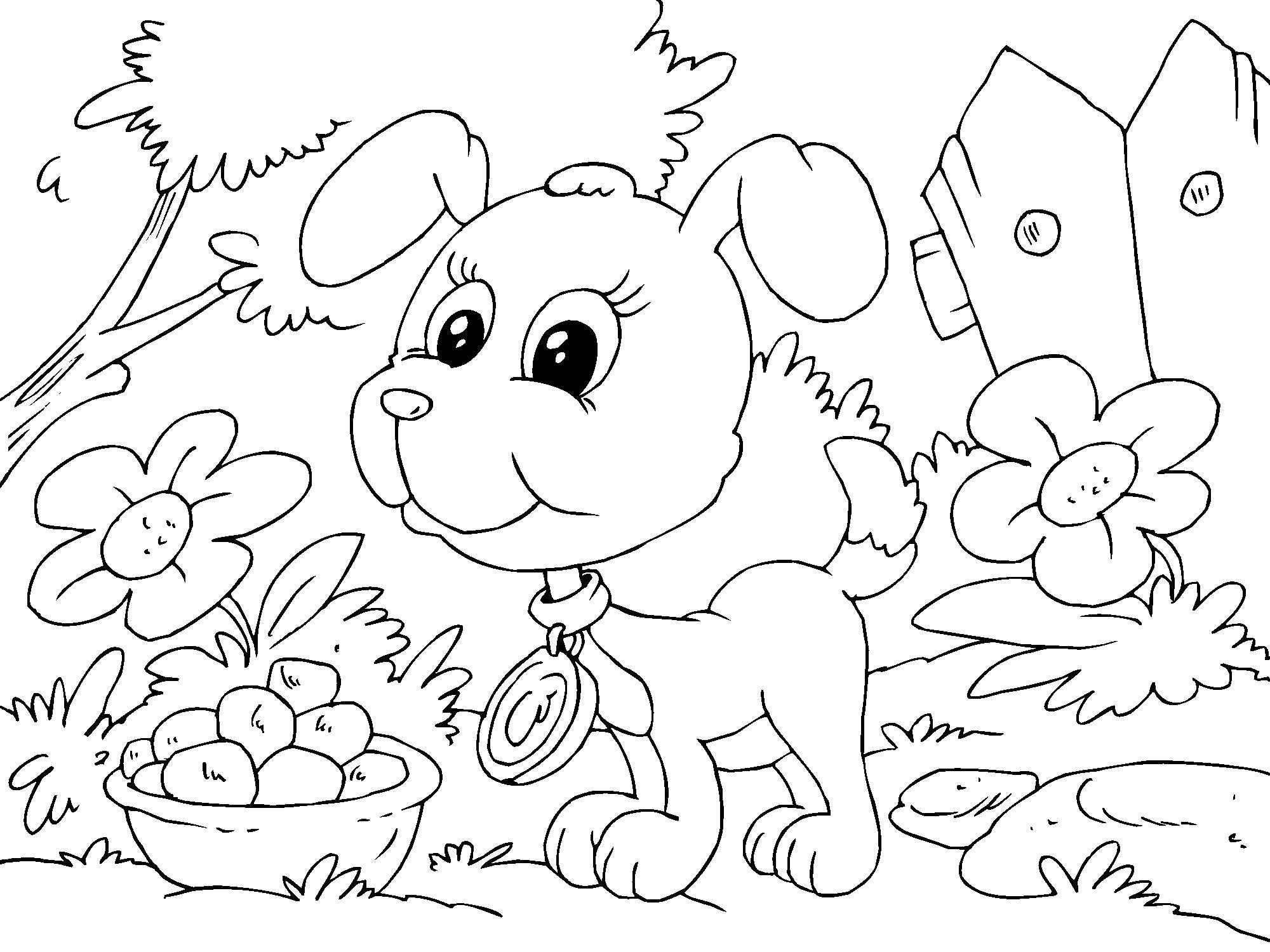 Hermosa Colorear Cachorro Ornamento - Dibujos Para Colorear En Línea ...