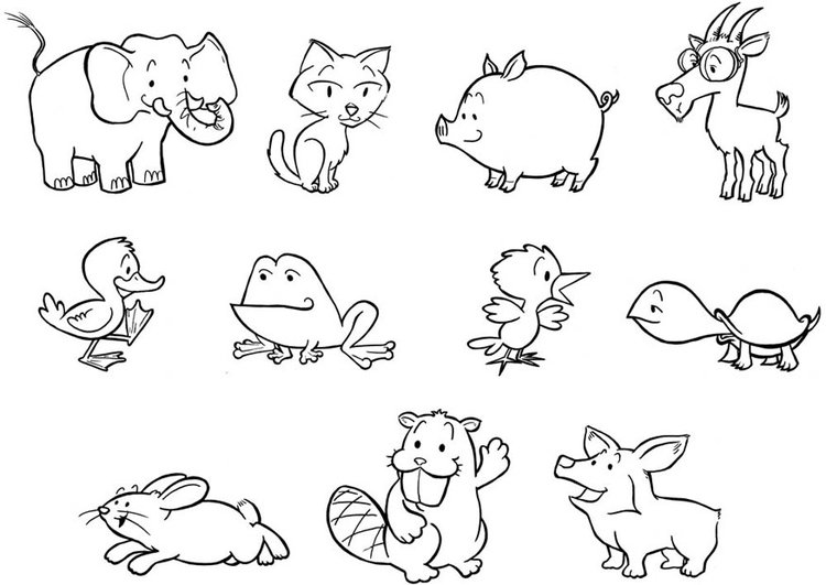 Dibujo para colorear cachorros de animales - Img 24839