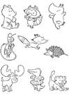 Dibujo para colorear cachorros de animales