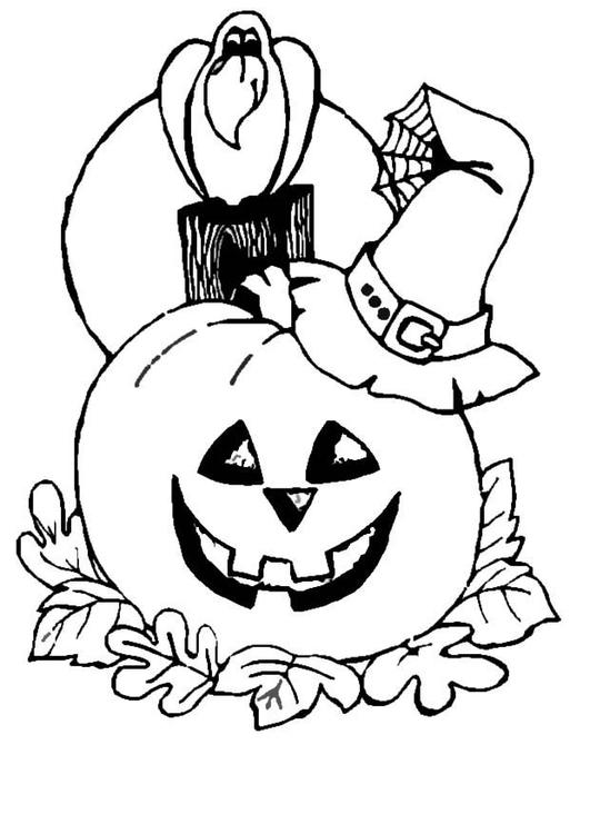 Dibujo para colorear Calabaza con cuervo - Img 8629