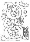 Dibujo para colorear calabazas de halloween