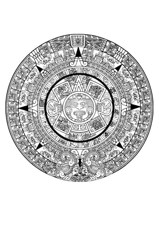 Dibujo para colorear calendario azteca - Img 29116