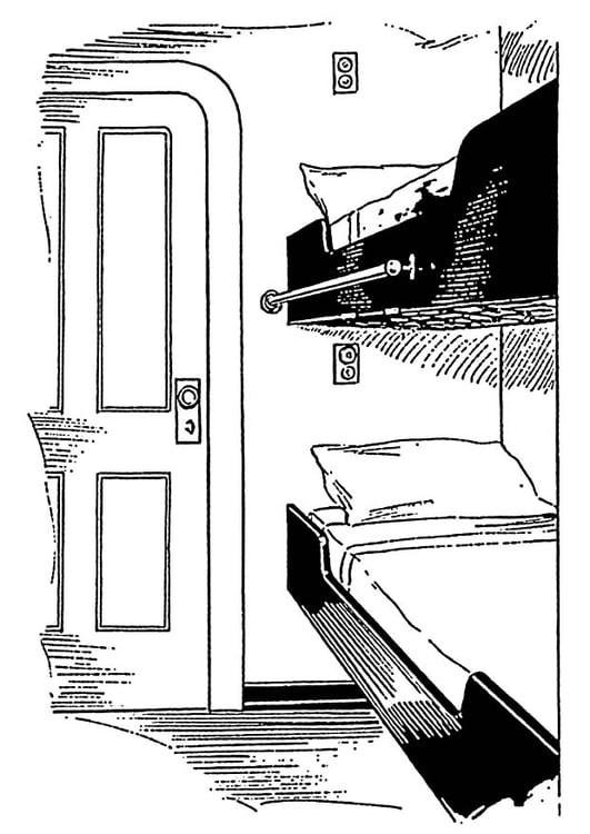 Dibujo para colorear cama - litera en barco - Img 18889