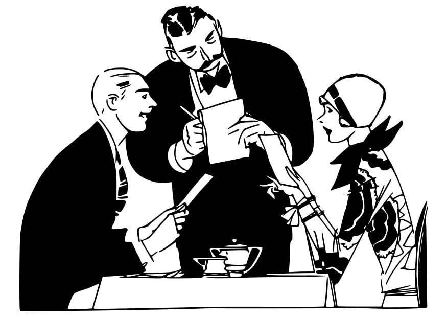 Dibujo Para Colorear Camarero En El Restaurante