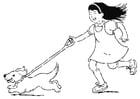 Dibujo para colorear caminar con el perro