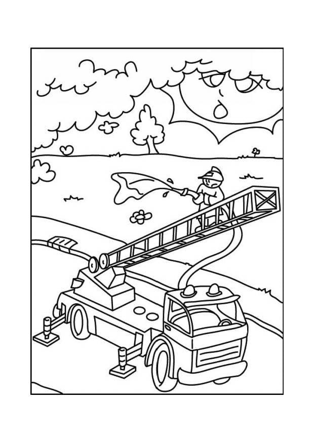 Dibujo para colorear Camión de bomberos - Img 12683
