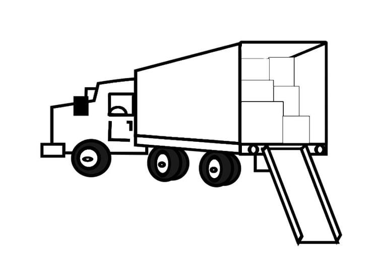 Dibujo Para Colorear Camión De Mudanzas Lleno