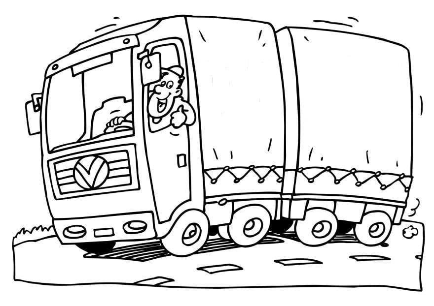 Bonito Pequeño Camión Azul Para Colorear Embellecimiento - Dibujos ...