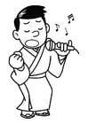 Dibujo para colorear cantar - karaoke