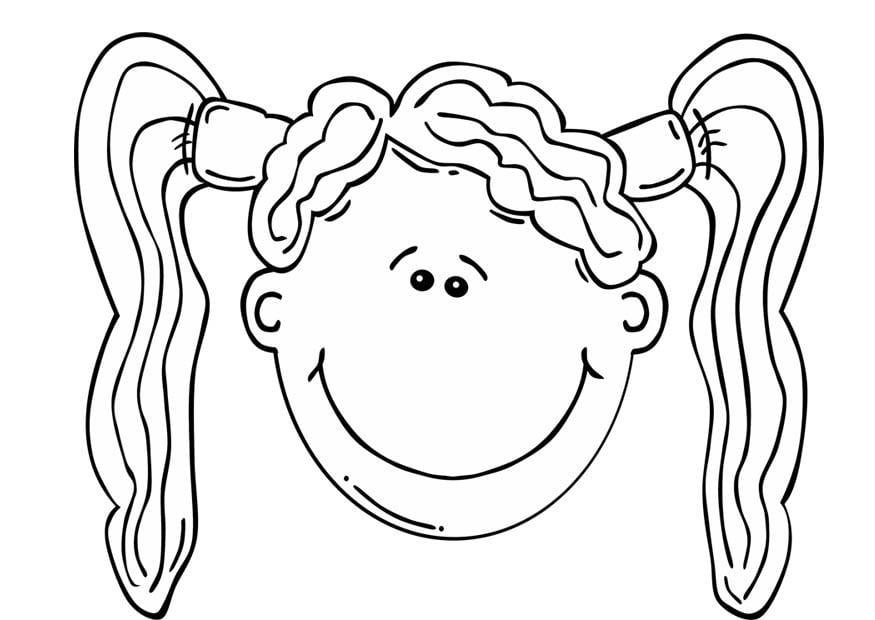 Dibujo para colorear cara de niña - Img 17065