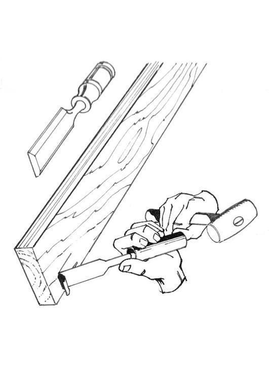 dibujo para colorear carpintero con cincel