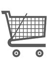 Dibujo para colorear carrito de la compra