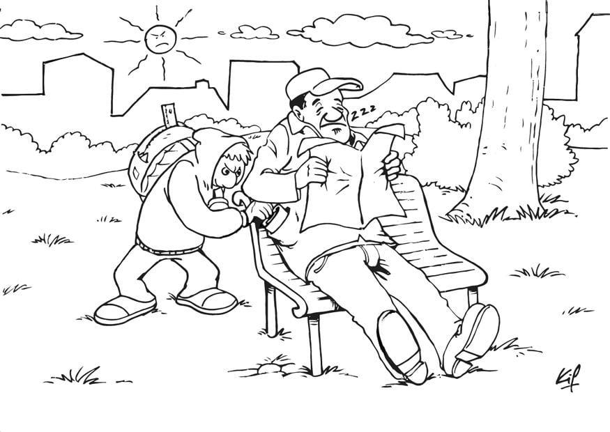 El Parque De Atracciones De Dibujos Animados Ven A Jugar: Dibujo Para Colorear Carterista En El Parque
