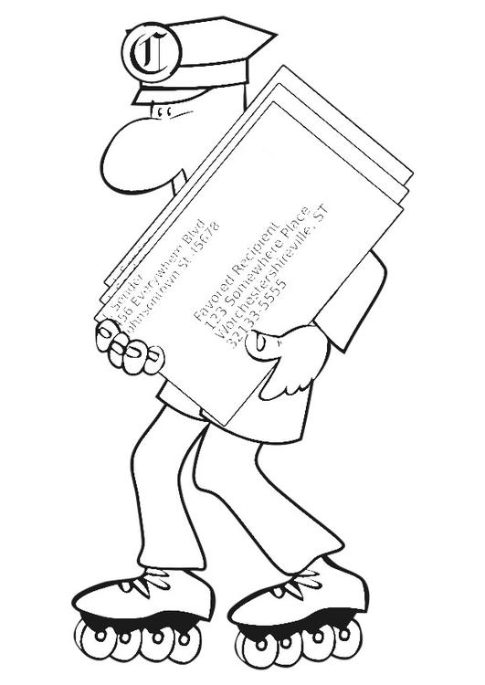 Dibujo para colorear cartero sobre patines - Img 20199