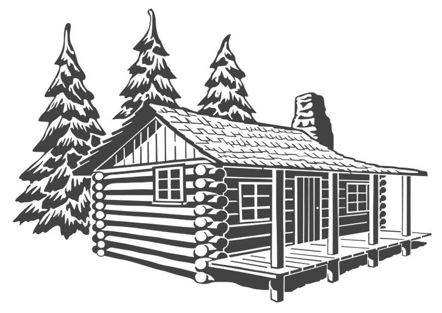 Dibujo para colorear casa de madera  Img 27209