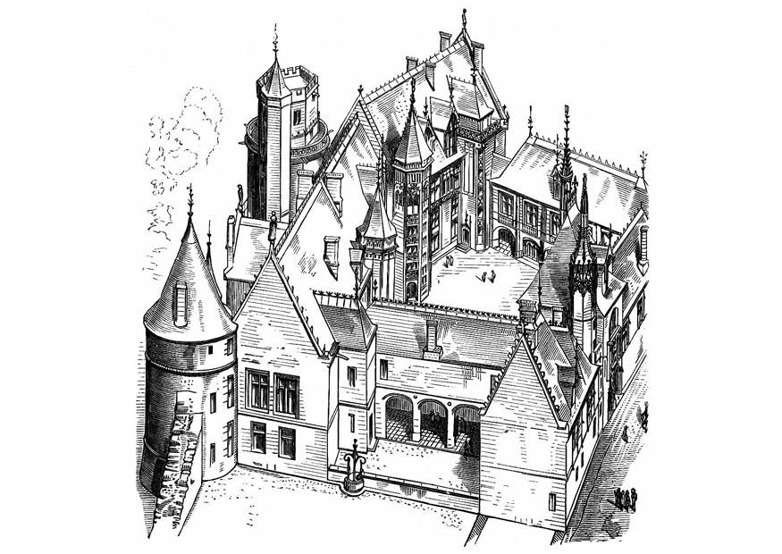 Dibujo Para Colorear Casa En Francia Bourges 1443 Img 11267