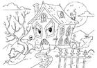 Dibujo para colorear casa encantada