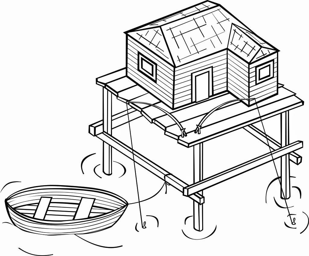 Dibujo Para Colorear Casa Sobre Pilotes Img 16117
