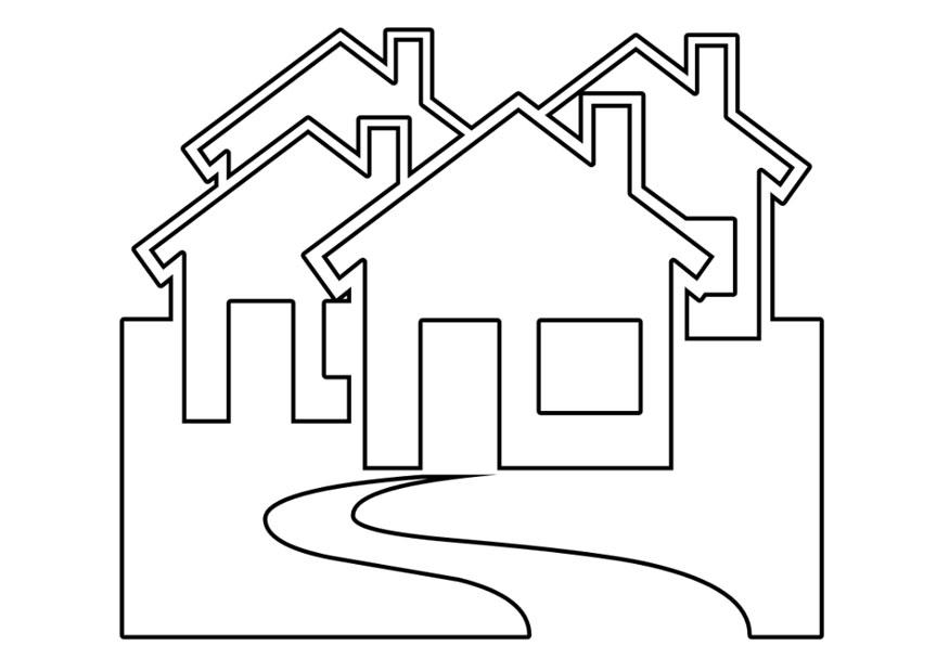 Dibujo para colorear casas img 22534 for How to draw a cute house