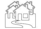 Dibujo para colorear casas