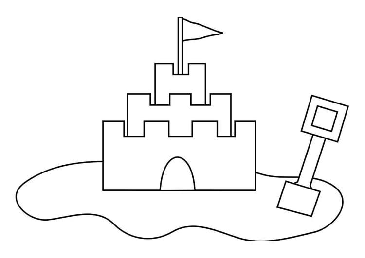 Dibujo para colorear castillo de arena - Img 19257