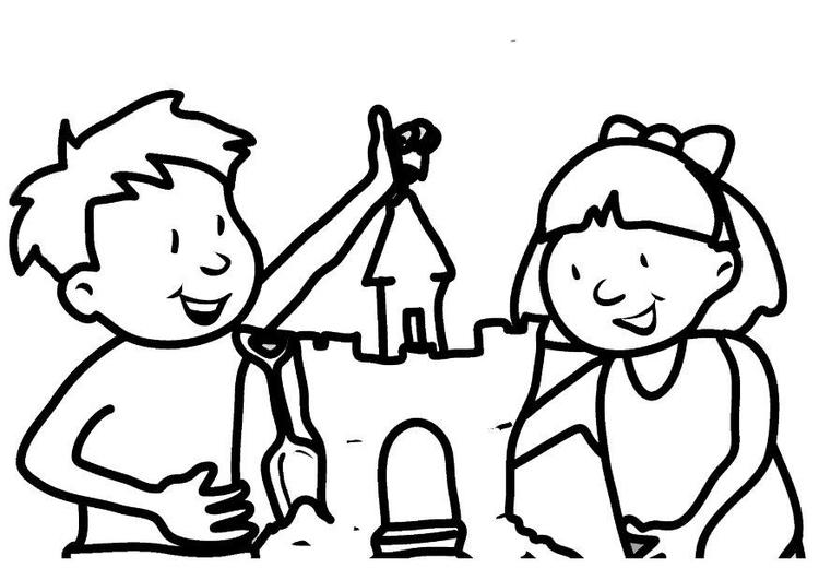 Dibujo para colorear Castillo de arena - Img 7314