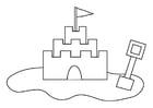 Dibujo para colorear castillo de arena