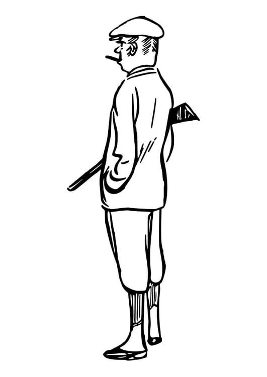 Dibujo para colorear cazador - Img 29820