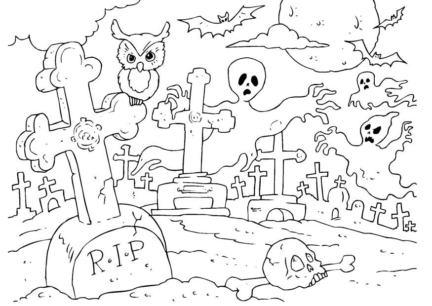 Dibujo para colorear cementerio de Halloween - Img 22989