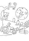 Dibujo para colorear cementerio de halloween