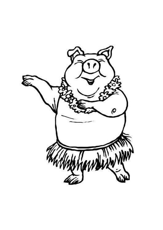 Dibujo para colorear Cerdo bailando - Img 10764