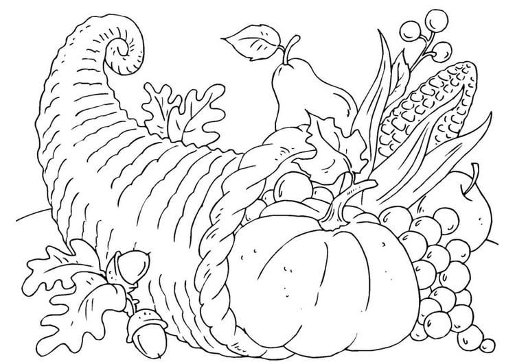 Dibujo para colorear cesta de acción de gracias - cornucopia - Img 22904