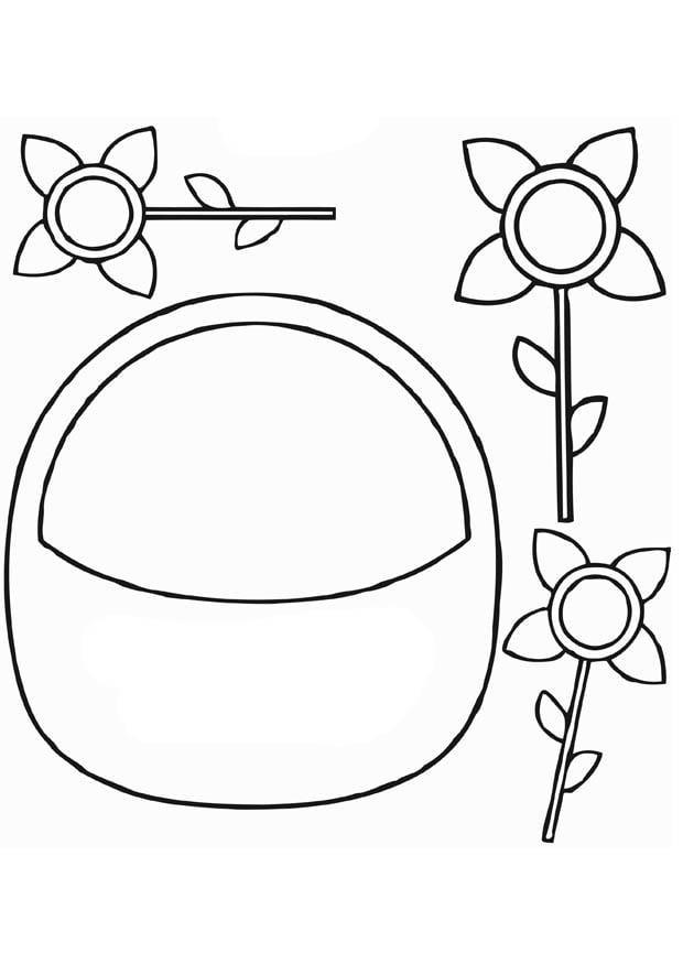 Dibujo para colorear Cesta de flores  Img 13826