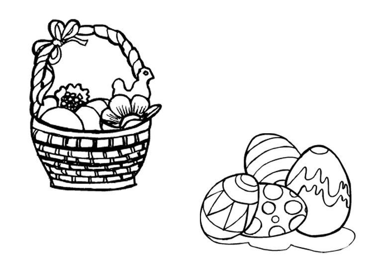 Dibujo para colorear Cesta de pascua con huevos de pascua - Img 9666
