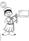 Dibujo para colorear Chen con bandera china