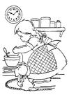 Dibujo para colorear Chica cocinando