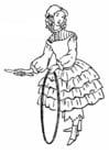 Dibujo para colorear Chica con aro