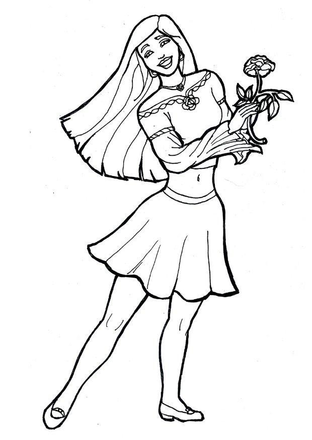 Dibujo para colorear Chica con flor   Img 7174