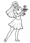 Chica con flor