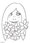 Dibujo para colorear Chica con narcisos