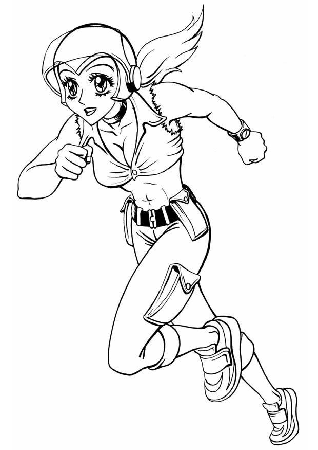 Dibujo para colorear Chica corriendo - Img 8839
