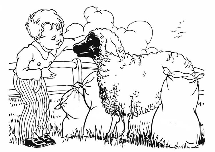 Dibujos Para Colorear De Chicos: Dibujo Para Colorear Chico Con Ovejas