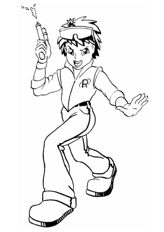 Dibujo para colorear Chico con pistola de agua - Img 8899