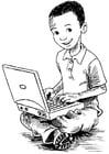 Dibujo para colorear chico en la computadora portátil