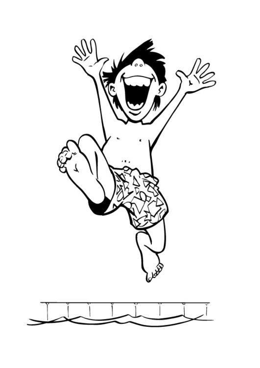 Dibujo Para Colorear Chico En La Piscina Dibujos Para