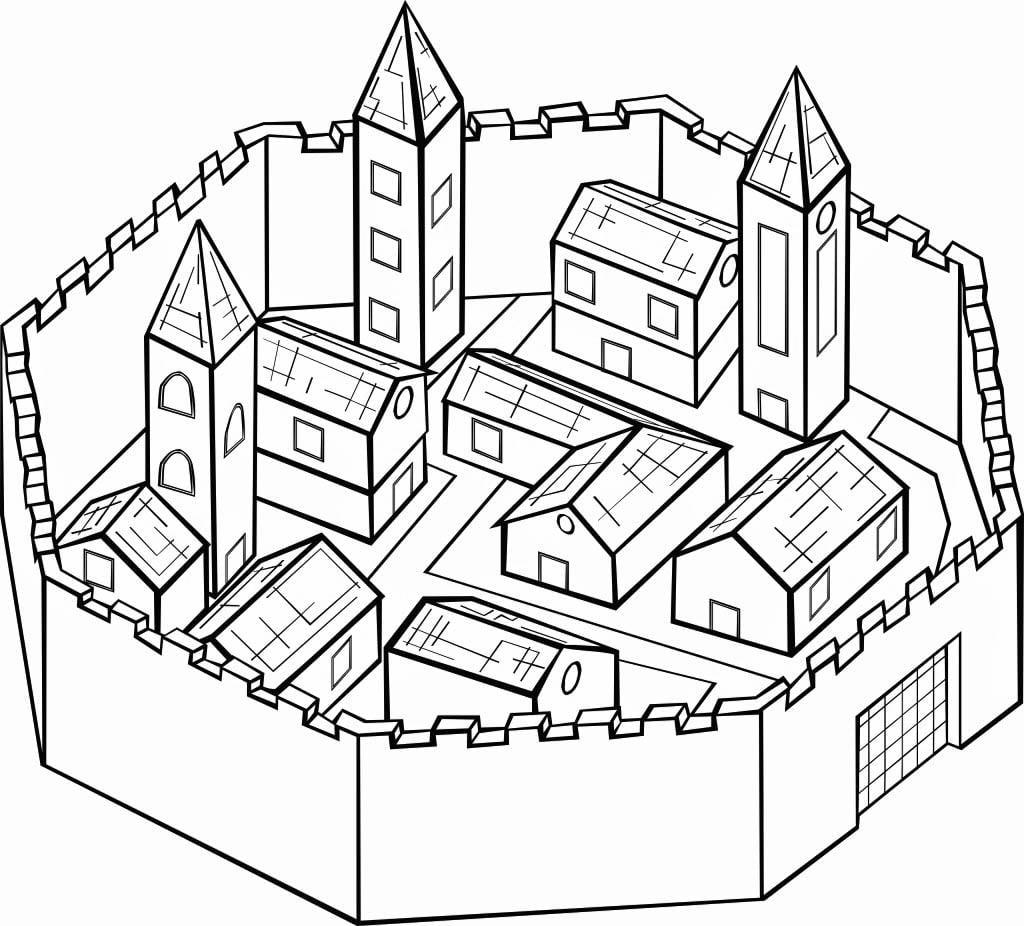Dibujo para colorear Ciudad amurallada - Img 16122