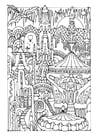 Dibujo para colorear ciudad de cuento